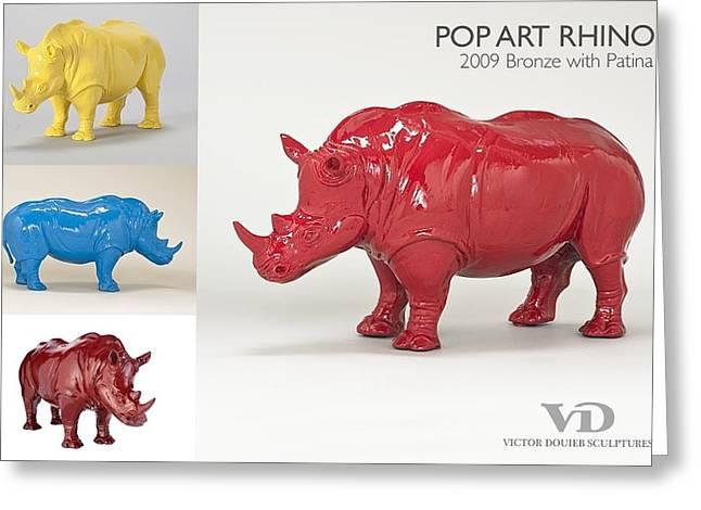 Rhinoceros Sculptures Greeting Cards - Pop Art Rhino Greeting Card by Victor Douieb