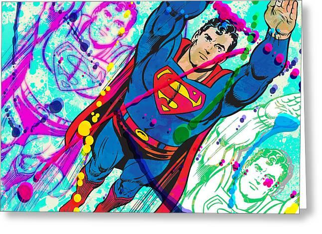 Decorative Greeting Cards - POP Art Superman Greeting Card by Gary Grayson