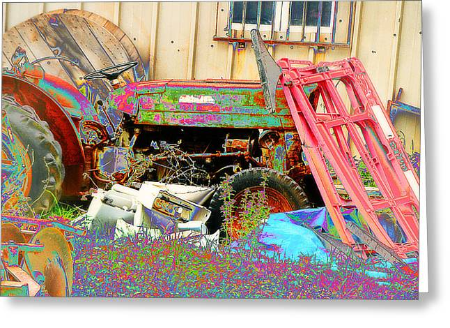 Consume Mixed Media Greeting Cards - Pop Art Tractor Greeting Card by Michael Braham