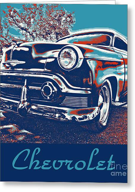 Rally Greeting Cards - Pop Art  Vintage Chevrolet Greeting Card by Cheryl Young