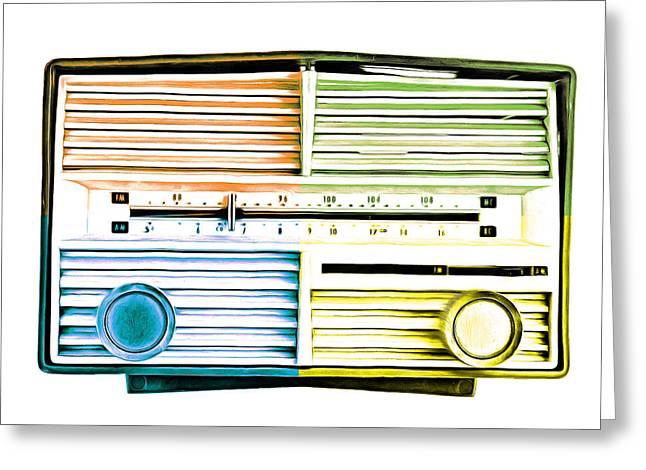 Pop Art Vintage Radio Greeting Card by Edward Fielding
