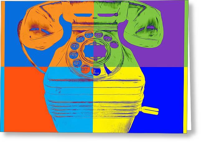 Retro Digital Art Greeting Cards - Pop Art Vintage Telephone 2 Greeting Card by Edward Fielding