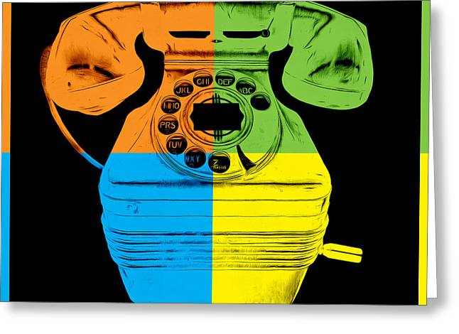 Retro Digital Art Greeting Cards - Pop Art Vintage Telephone 3 Greeting Card by Edward Fielding