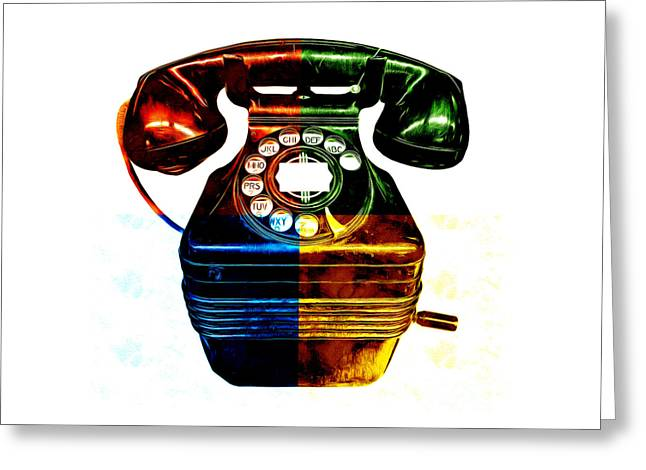Graphic Digital Art Greeting Cards - Pop Art Vintage Telephone 4 Greeting Card by Edward Fielding