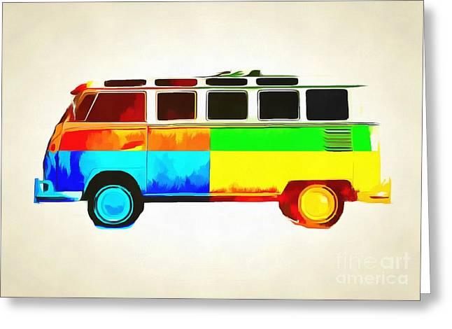 Surfer Art Greeting Cards - Pop Art VW Bus Retro 2 Greeting Card by Edward Fielding