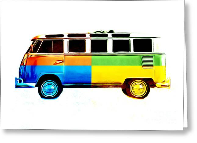 Surfer Art Photographs Greeting Cards - Pop Art VW Bus Retro Greeting Card by Edward Fielding