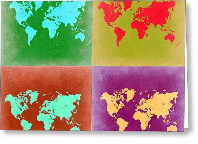 Pop Art World Map 3 Greeting Card by Naxart Studio