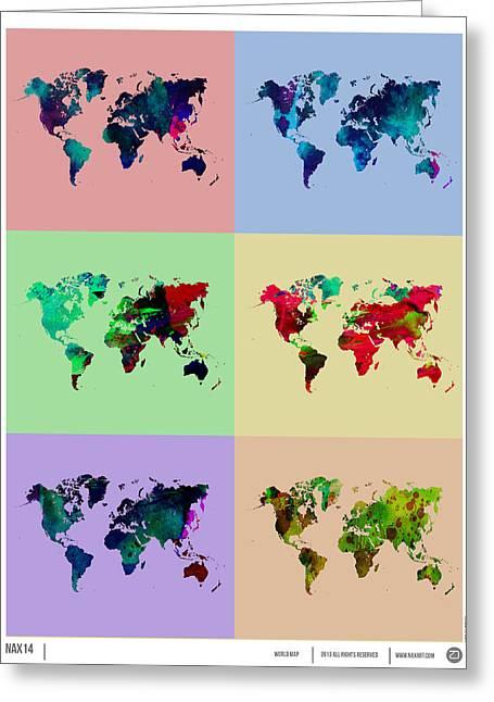 Pop Art World Map Greeting Card by Naxart Studio