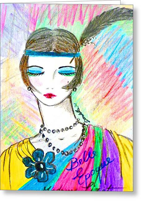 Belles Mixed Media Greeting Cards - Pop Belle Epoque Greeting Card by Donatella Muggianu