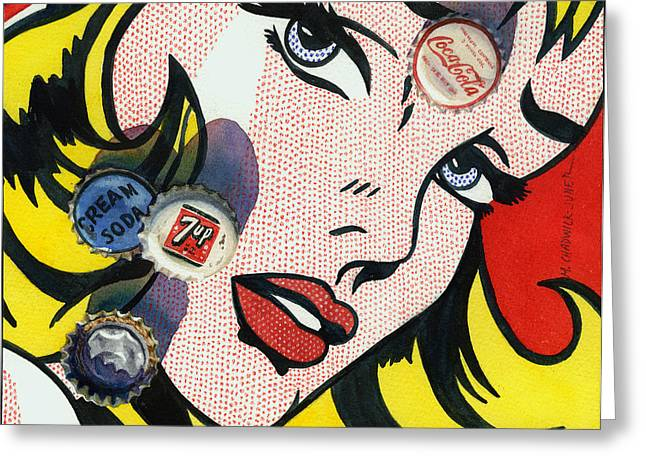 Bottle Cap Greeting Cards - Pop Caps and Pop Art II Greeting Card by Marguerite Chadwick-Juner