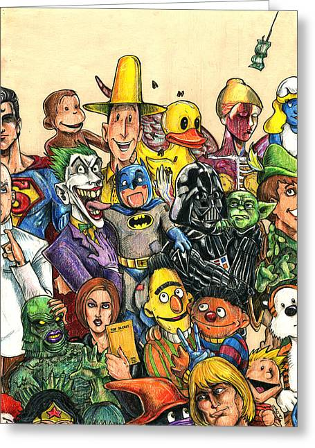 Sesame Street Greeting Cards - Pop Culture Ventriloquist Mashup Greeting Card by John Ashton Golden