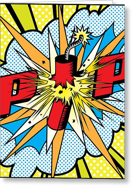 Decorative Greeting Cards - POP Firecracker Greeting Card by Gary Grayson