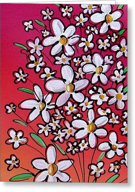 Decorative Floral Greeting Cards - Pop Flowers - 2 Greeting Card by Cindy Thornton