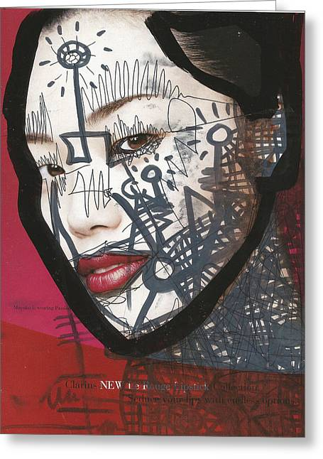 City Lights Greeting Cards - Pop-Graffiti Tattoo Model Greeting Card by Edward X