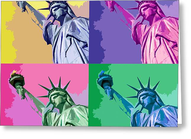 Nyc Posters Digital Art Greeting Cards - Pop Liberty Greeting Card by Delphimages Photo Creations