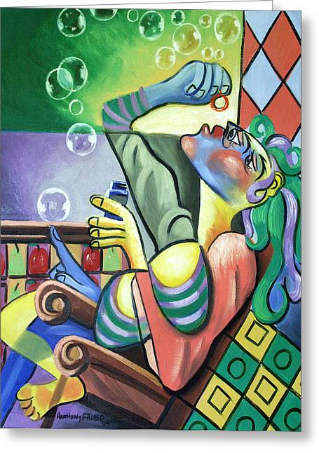 Cubism Prints Greeting Cards - Pop My Bubble Greeting Card by Anthony Falbo