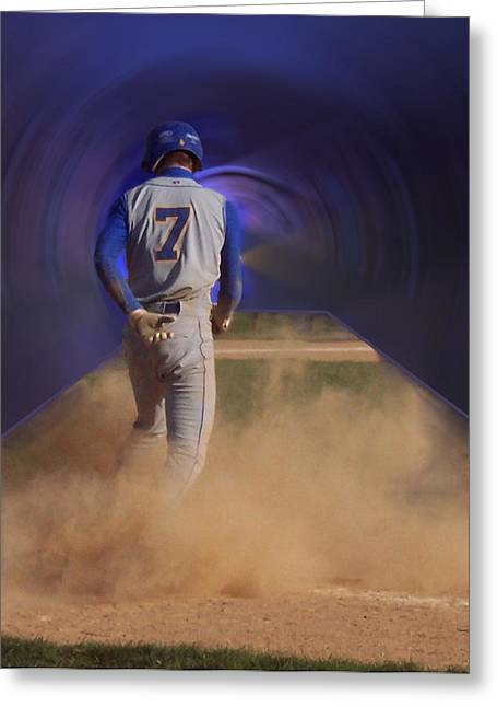Softball Mitt Greeting Cards - Pop Slide At Third Base Greeting Card by Thomas Woolworth