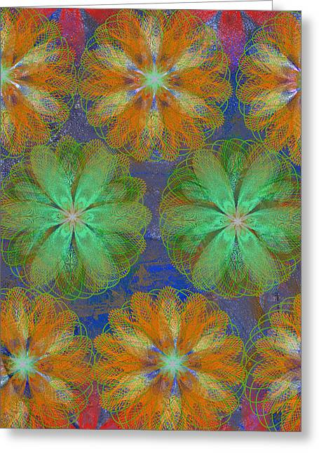 Geometric Effect Mixed Media Greeting Cards - Pop Spiral Floral 22 Greeting Card by Ricki Mountain