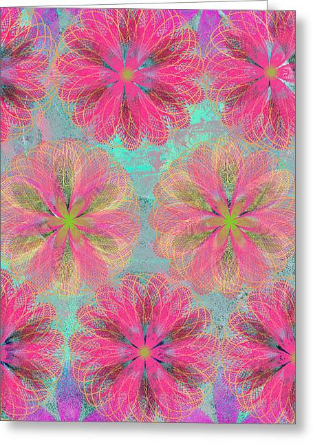 Geometric Effect Mixed Media Greeting Cards - Pop Spiral Floral 8 Greeting Card by Ricki Mountain