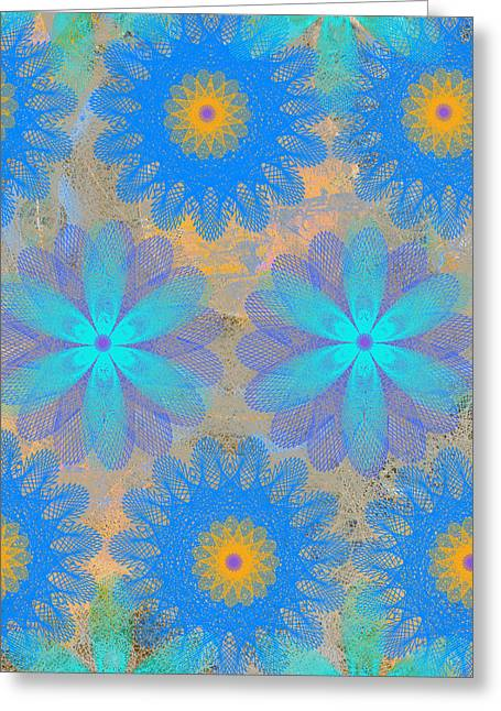 Geometric Effect Mixed Media Greeting Cards - Pop Spiral Floral VI Greeting Card by Ricki Mountain
