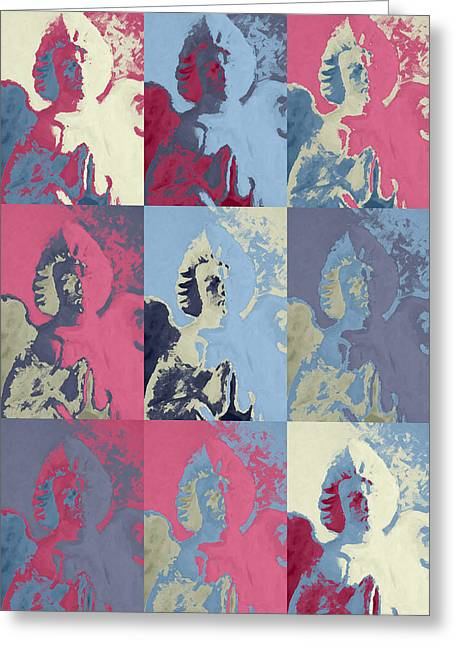 Headstones Greeting Cards - Popart an angel Greeting Card by Toppart Sweden