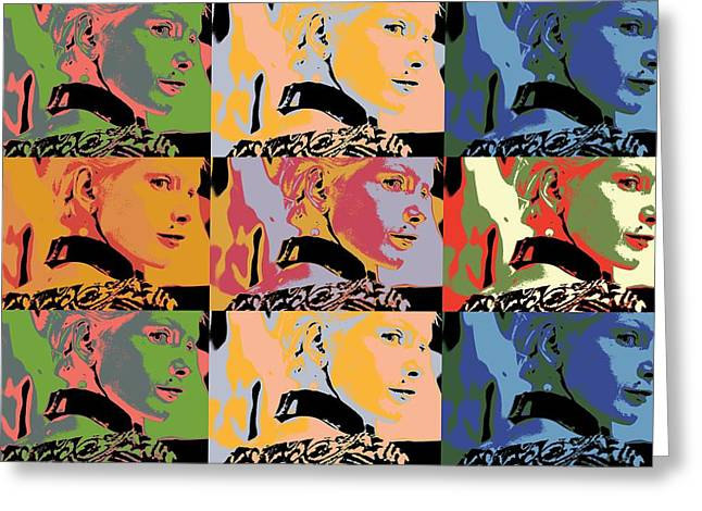 Antenna Mixed Media Greeting Cards - Popart fashion girl Greeting Card by Toppart Sweden