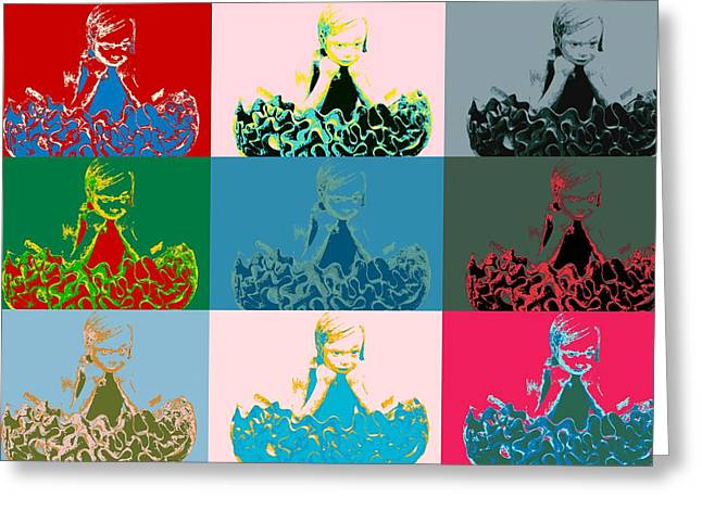 Visual Quality Greeting Cards - Popart girl thinks Greeting Card by Toppart Sweden