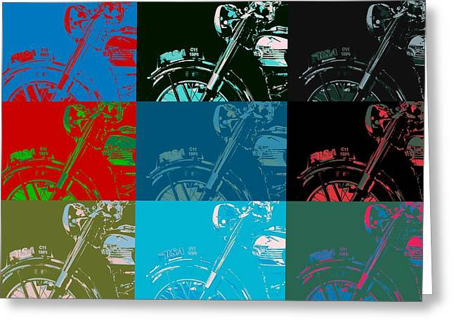 Visual Quality Greeting Cards - Popart Motorbike Greeting Card by Toppart Sweden