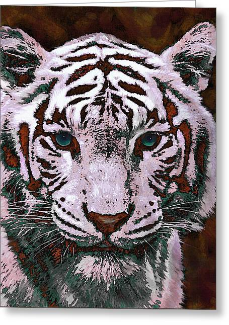 Popart White Tiger- Larger Greeting Card by Jane Schnetlage