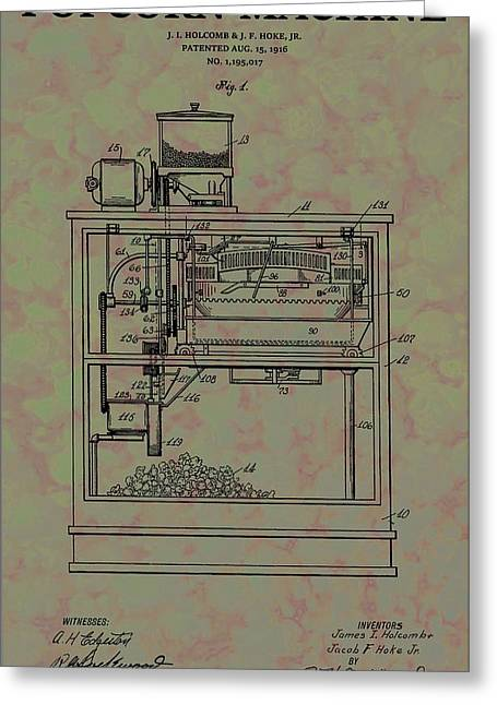 Popcorn Machine Patent Greeting Card by Dan Sproul