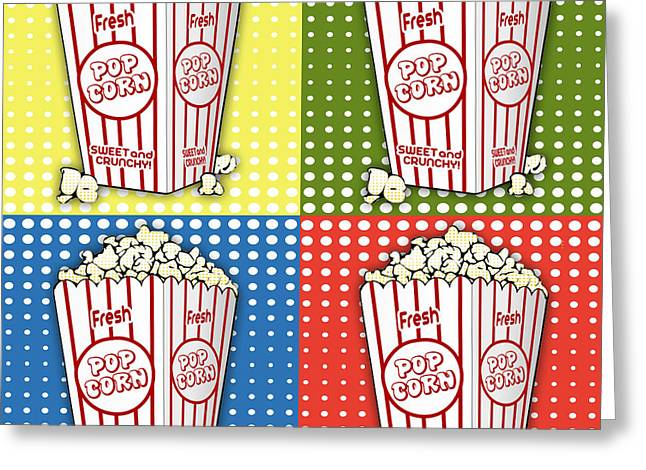 Home Theater Greeting Cards - Popcorn Pop Art-JP2374 Greeting Card by Jean Plout
