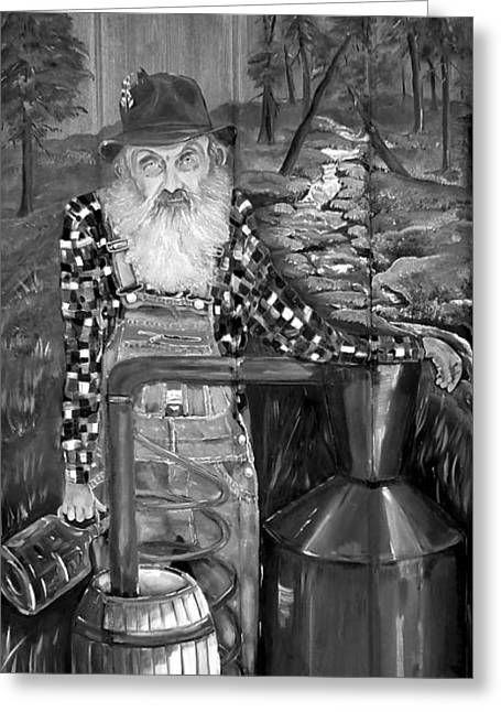 Sutton Paintings Greeting Cards - Popcorn Sutton - Black and White - Legendary Greeting Card by Jan Dappen