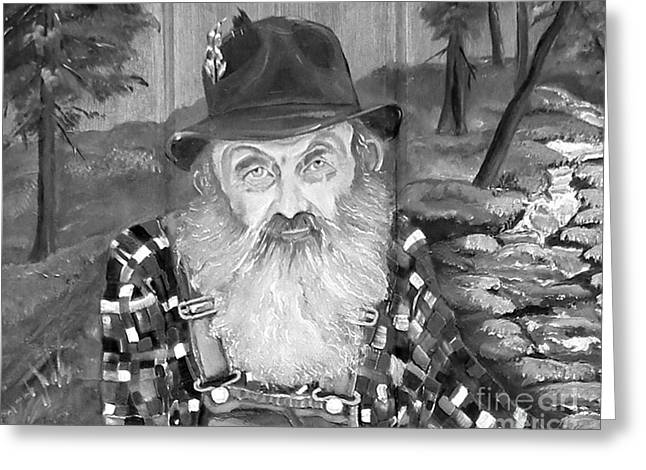 Sutton Paintings Greeting Cards - Popcorn Sutton - Maggie Valley Moonshiner Greeting Card by Jan Dappen