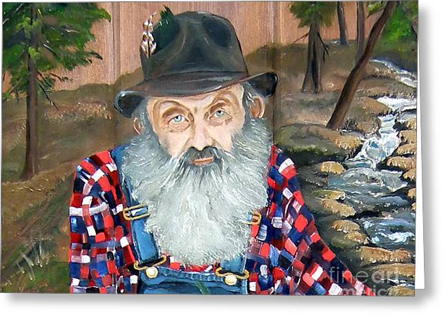 Sutton Paintings Greeting Cards - Popcorn Sutton - Moonshine Legend - landscape view Greeting Card by Jan Dappen