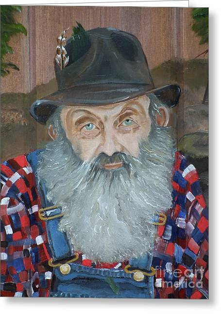 Sutton Paintings Greeting Cards - Popcorn Sutton - Moonshiner - Portrait Greeting Card by Jan Dappen
