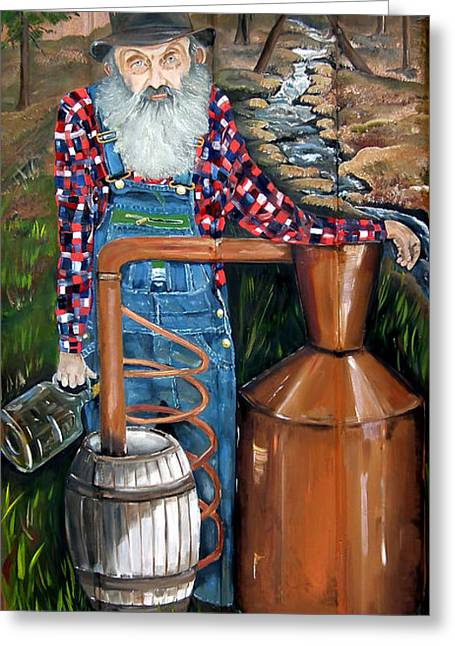 Sutton Paintings Greeting Cards - Popcorn Sutton - Moonshiner - Redneck Greeting Card by Jan Dappen