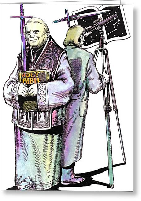 Portraits Of The Pope Greeting Cards - Pope Benedict portrait and astronomer Greeting Card by Magdalena Walulik