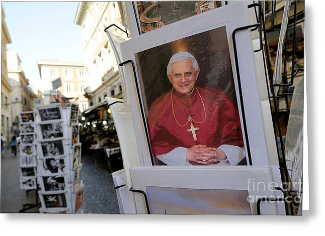 Benedict Greeting Cards - Pope Benedict XVI. postcard in a rack. Rome. Lazio. Italy. Europe Greeting Card by Bernard Jaubert