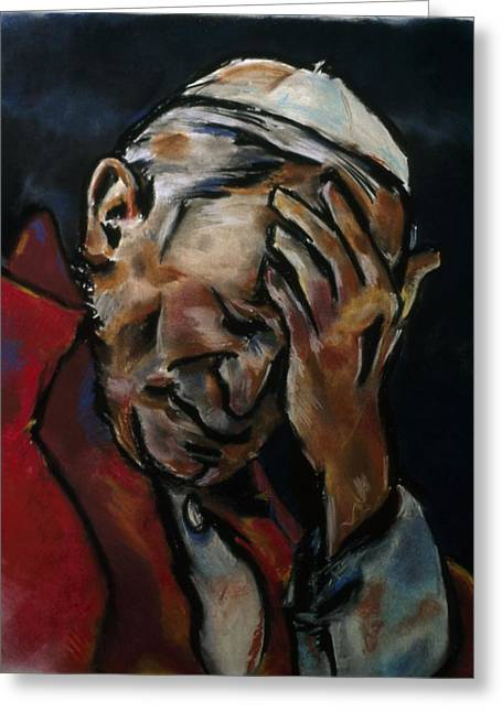 Pensive Pastels Greeting Cards - Pope Greeting Card by Danyl Cook