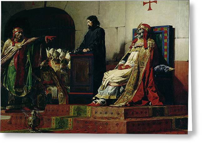Creepy Paintings Greeting Cards - Pope Formosus and Pope Stephen VI Greeting Card by Jean Paul Laurens
