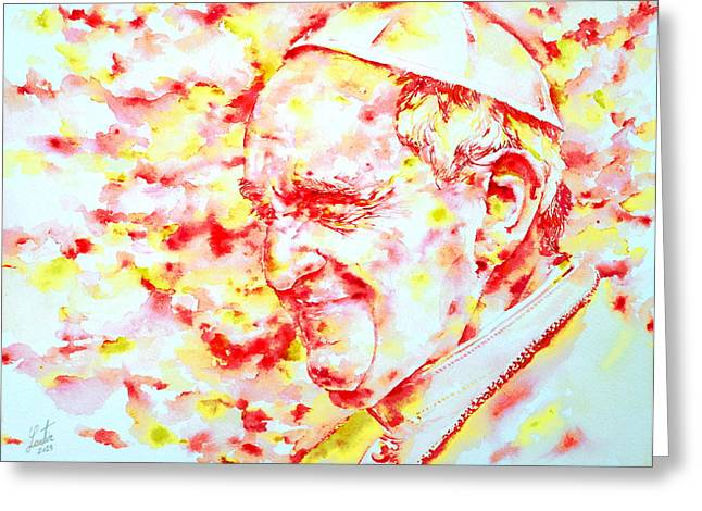 Popes Greeting Cards - POPE FRANCIS profile -watercolor portrait Greeting Card by Fabrizio Cassetta