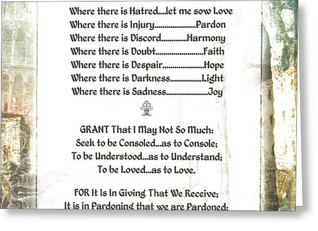 Pope Francis St. Francis SIMPLE PRAYER for PEACE Greeting Card by Desiderata Gallery