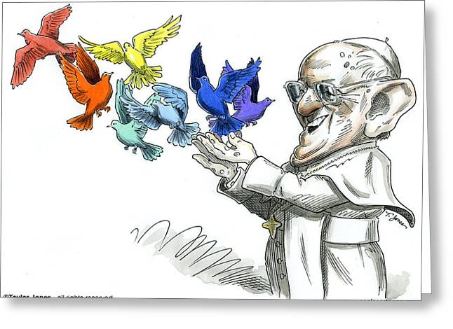 Reform Drawings Greeting Cards - Pope Francis Greeting Card by Taylor Jones