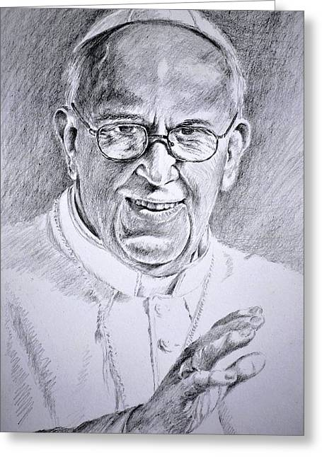 Francis Greeting Cards - Pope Franciscus Greeting Card by Henryk Gorecki