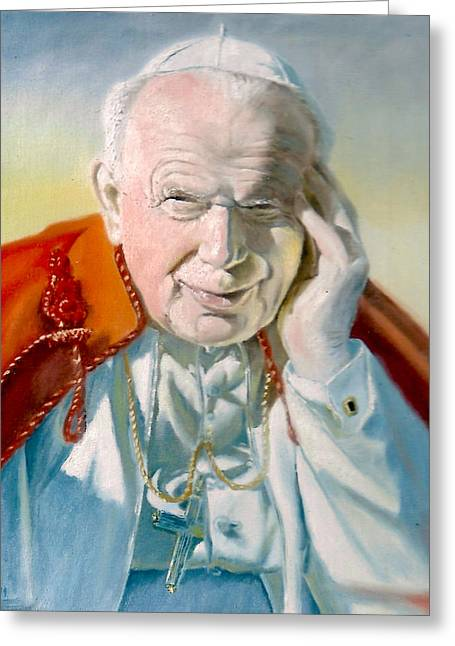 Skullcap Greeting Cards - Pope John Paul II Greeting Card by Henryk Gorecki