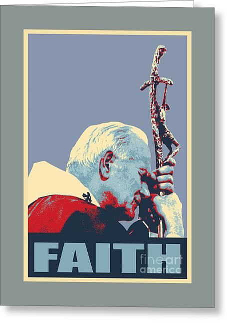 Popes Greeting Cards - Pope John Paul II Greeting Card by Jean luc Comperat