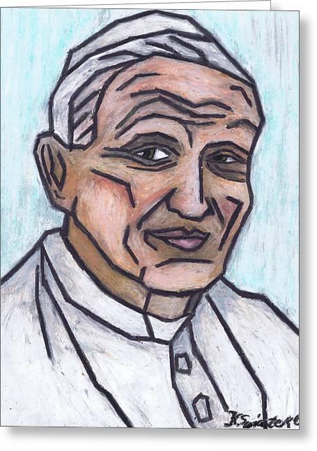 Religion Pastels Greeting Cards - Pope John Paul II Greeting Card by Kamil Swiatek