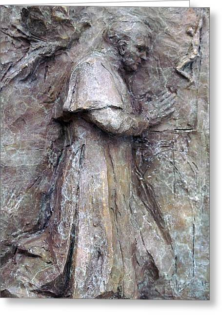Religious Sculptures Greeting Cards - Pope John Paul II Greeting Card by Karen Swenholt