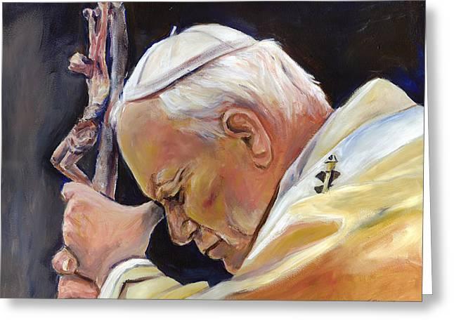 Catholic work Paintings Greeting Cards - Pope John Paul II Greeting Card by Sheila Diemert