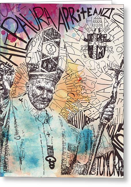 Religious Mixed Media Greeting Cards - pope John paul Greeting Card by Michael  Volpicelli